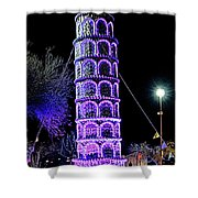 Lights Of The World Leaning Tower Of Pisa Shower Curtain