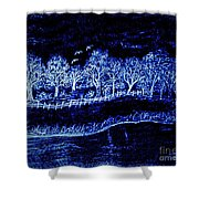 Lights On The Farm's Pond At Night Shower Curtain