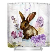 Lilac And Bunny Shower Curtain