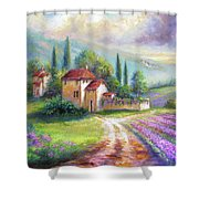 Lilac Fields In The Italian Countryside   Shower Curtain