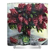 Lilac Original Flower Painting Shower Curtain