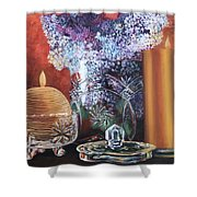 Lilacs And Candles Shower Curtain