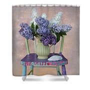 Lilacs With Chair And Shell Shower Curtain