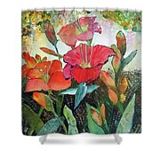 Lilies And Hummingbird Shower Curtain