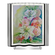 Lilies And Mums Shower Curtain