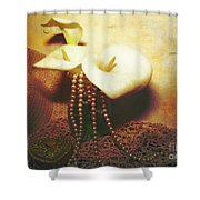 Lilies And Pearls Shower Curtain