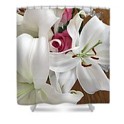 Lilies And Roses Shower Curtain