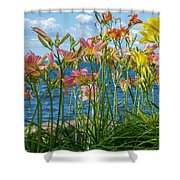 Lilies At The Waterfront Shower Curtain