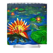Lilies By The Pond Shower Curtain