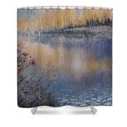 Lilies' Violet, Original Watercolor Shower Curtain