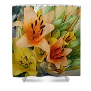 Lillies - Peach And Yellow Colors Shower Curtain