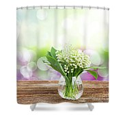 Lilly Of Valley Posy In Glass Shower Curtain