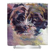 Lilly Pup Shower Curtain by Kimberly Santini