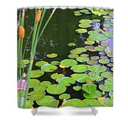 Lillypads And Cattails Shower Curtain