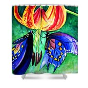 Lily And The Butterflies Shower Curtain