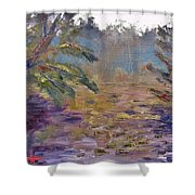Lily Pads On A Pond, Overcast Sky 3pm Shower Curtain