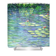 Lily Pads Triptych Panel Three Of Three Shower Curtain