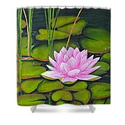 Lily Pond And Pink Shower Curtain