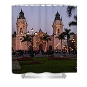 Lima Cathedral At Night Shower Curtain