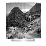 Lime Creek Bridge Highway 1 Big Sur Ca B And W Shower Curtain