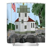 Lime Kiln Light On San Juan Island Shower Curtain
