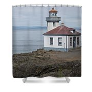 Lime Kiln Lighthouse Panorama Shower Curtain