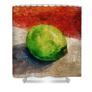 Lime Still Life Shower Curtain
