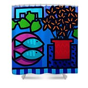 Limes Fish Flowers Shower Curtain