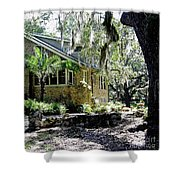 Limestone Home In The Trees Shower Curtain