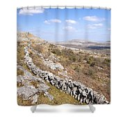 Limestone Pavements And Dry-stone Walls, Fahee North, Burren, County Clare, Ireland Shower Curtain