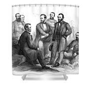 Lincoln And His Generals Black And White Shower Curtain