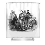 Lincoln And His Generals Black And White Shower Curtain by War Is Hell Store