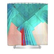 Lincoln Column Blue Shower Curtain
