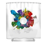 Lincoln Small World Cityscape Skyline Abstract Shower Curtain