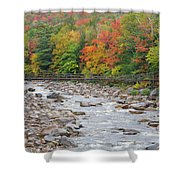 Lincoln Woods Suspension Bridge - Lincoln, New Hampshire Shower Curtain by Erin Paul Donovan