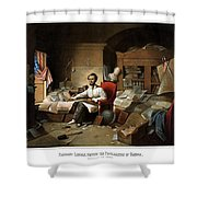 Lincoln Writing The Emancipation Proclamation Shower Curtain