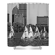 Line Of Boats On The Charles River Boston Ma Black And White Shower Curtain