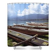 Line Of Outrigger Canoes Shower Curtain by Joss - Printscapes