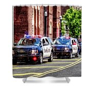 Line Of Police Cars Shower Curtain