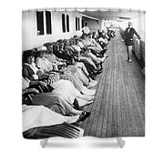 Line Of Ship Passengers Shower Curtain