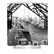 Line Of Victory Ships Shower Curtain