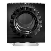 Line Up Black And White Shower Curtain