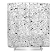 Linear Bulbs Pattern Lite Gray Shower Curtain