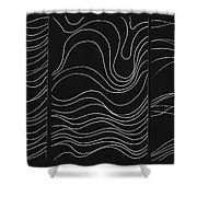 Lines 1-2-3 White On Black Shower Curtain