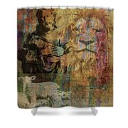Lion And Lamb Collage Shower Curtain