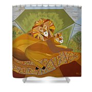 Lion And Lioness Shower Curtain