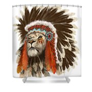 Lion Chief Shower Curtain by Sassan Filsoof