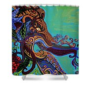 Lion Gargoyle Shower Curtain by Genevieve Esson
