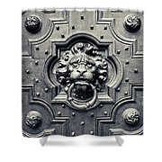 Lion Head Door Knocker Shower Curtain by Adam Romanowicz
