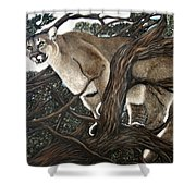 Lion In The Tree Shower Curtain